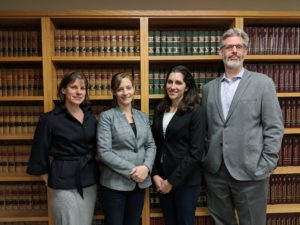 Margaret Kuzma of the Connecticut Veterans Legal Center and Betsy Gwin, Dana Montalto, and Dan Nagin of the Veterans Legal Clinic
