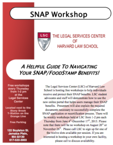 Free SNAP/Food Stamps Workshop @ Legal Services Center | Boston | Massachusetts | United States