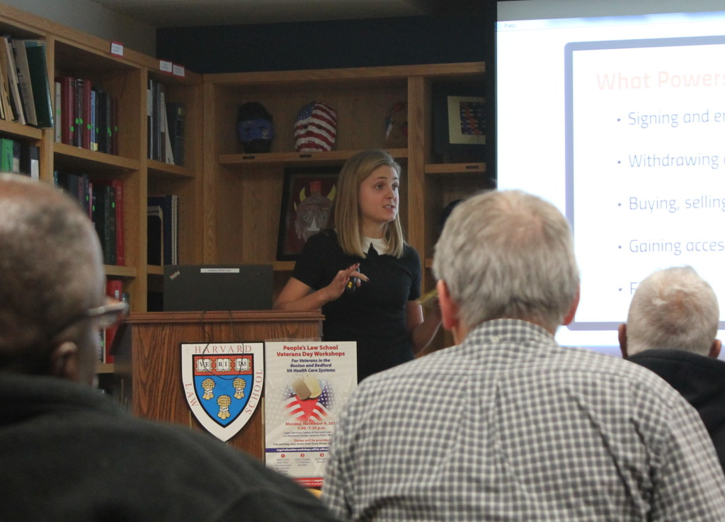 LSC clinic student, Carys Johnson, presents to veterans about estate planning