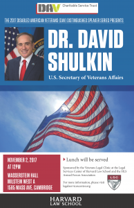 2017 DAV Distinguished Speaker Series: Dr. David Shulkin, U.S Secretary of Veterans Affairs @ Wasserstein Hall, Milstein West A, Harvard Law School | Cambridge | Massachusetts | United States
